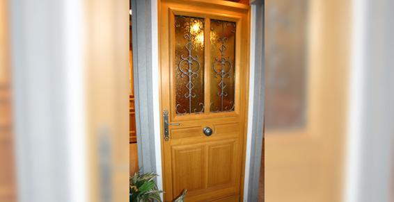 Porte d'entrée bois vitré