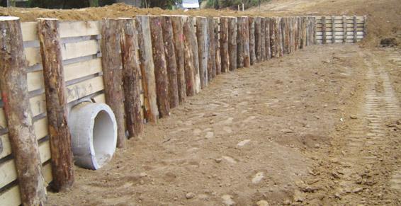 travaux publics - mise en place de tunage bois -  Saint Sauveur des Landes