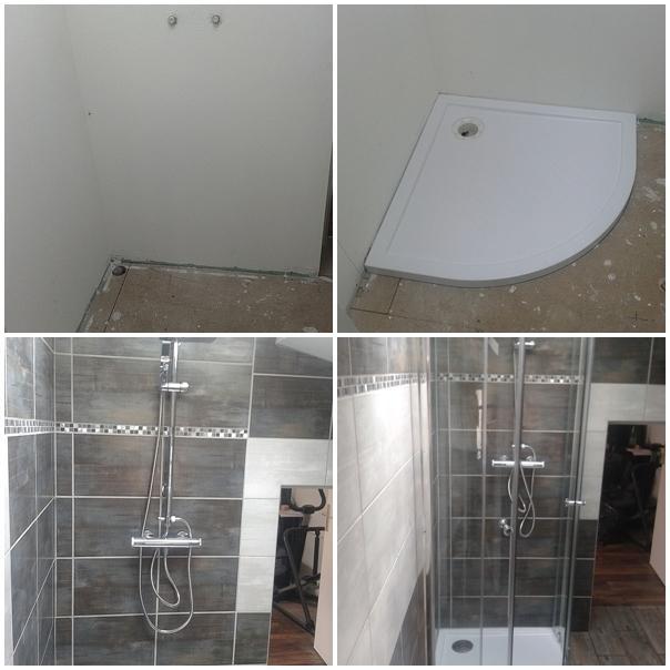 douche avec porte d'angle coulissante