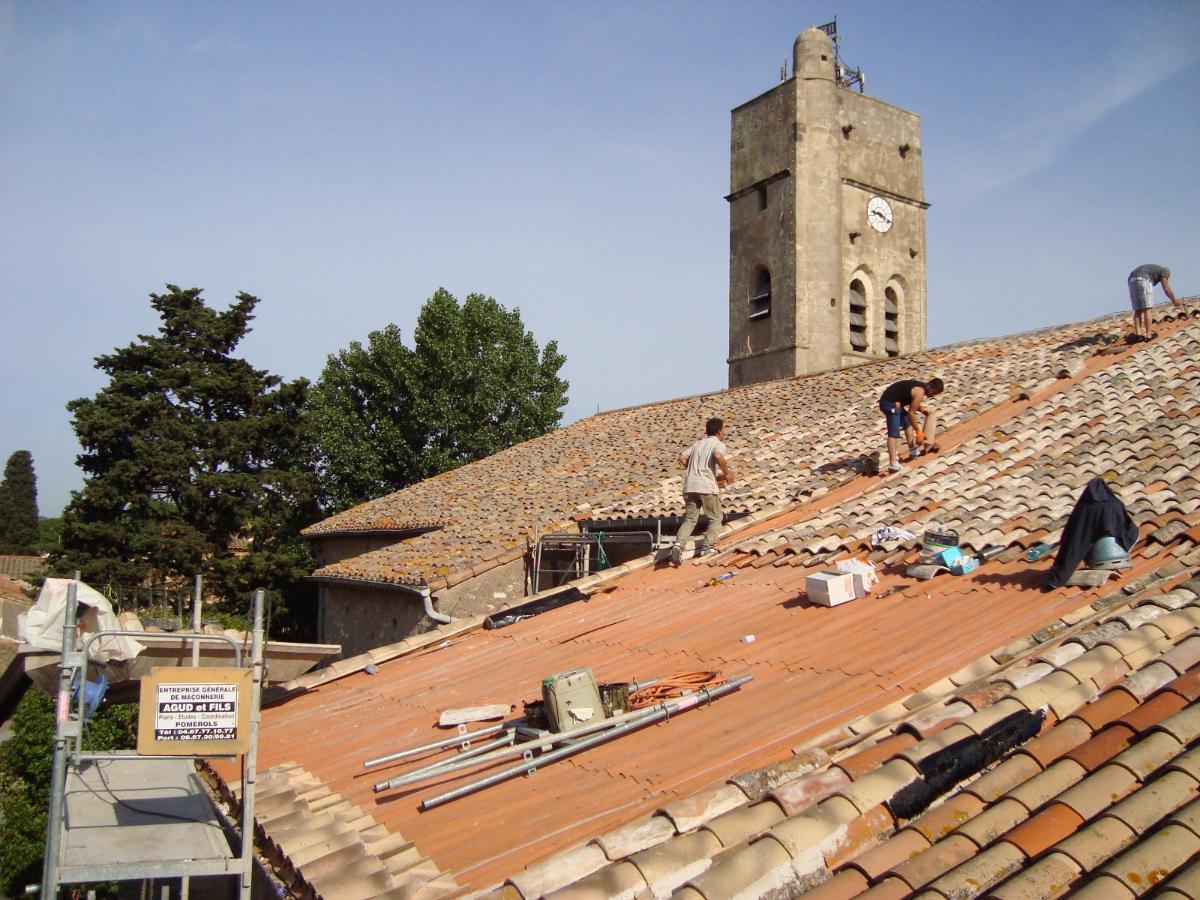Réfection toiture église de Pomérols en Flexoutuile