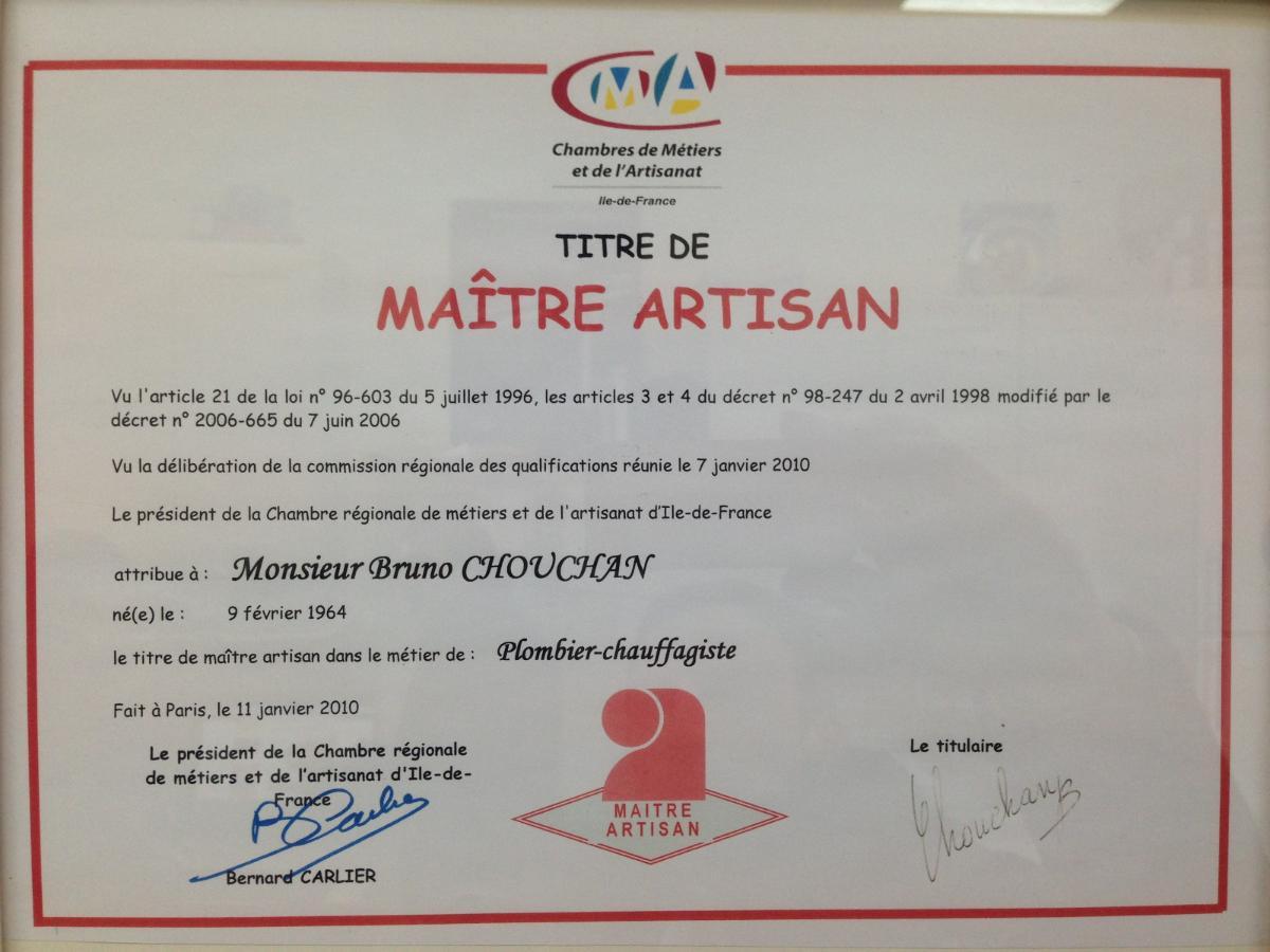 Diplome, artisan Plombier à Paris 12