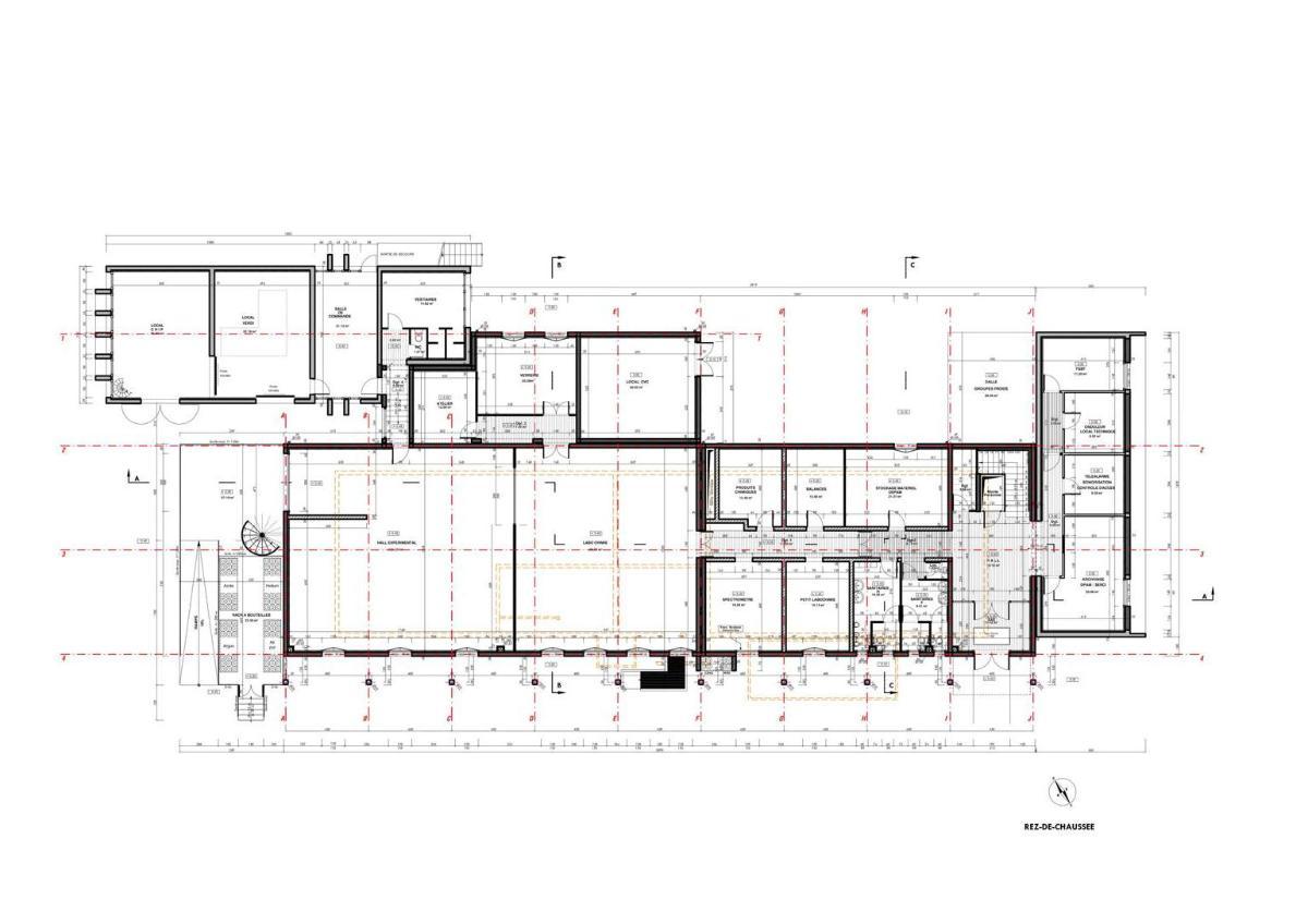 plan  Bâtiment tertiaire et de recherche de l'IRSN à CADARACHE