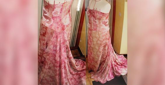 Lisatoki travaille sur des robes de soirée à Saint-Jean-de-Luz