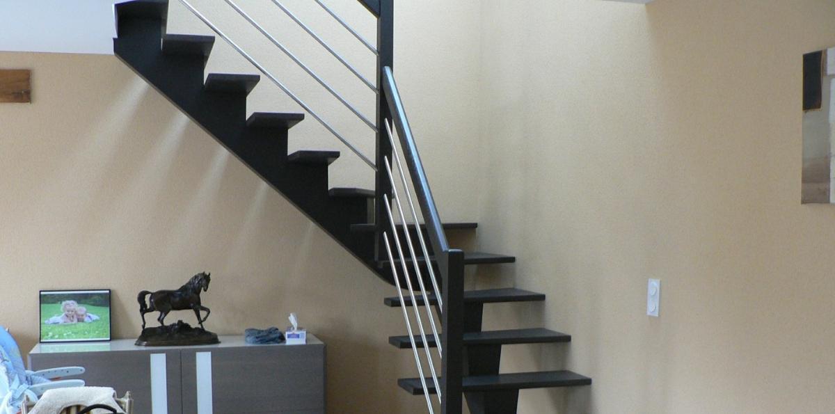 Escalier Limon central conique teinté Wengé