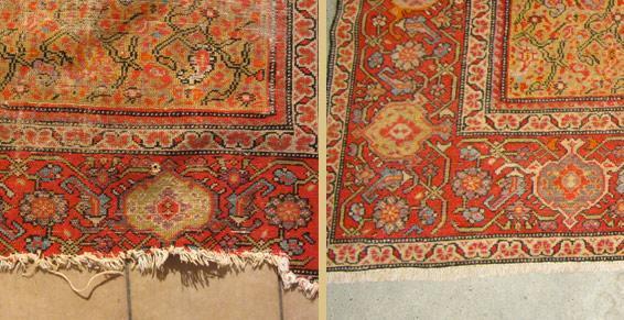 Tapis persan malayer XVIIème siècle avant et après restauration