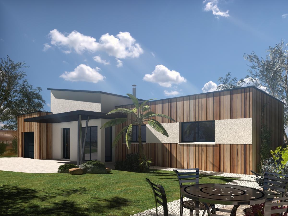 Maison contemporaine avecbardage bois