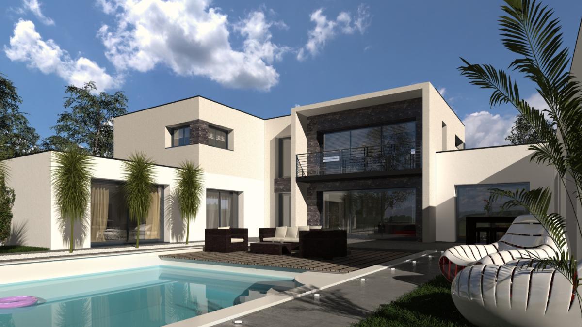 Vue extérieure pour une maison individuelle moderne